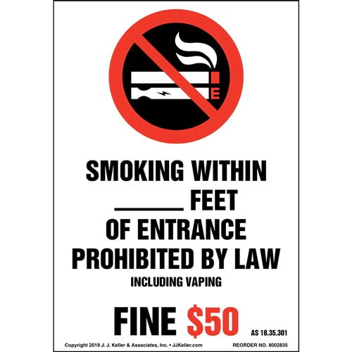 Alaska Smoking Prohibited By Law Label with Icon - Portrait (015719)