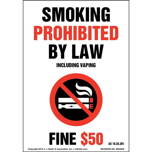 Alaska Smoking Prohibited By Law Including Vaping Label with Icon - Portrait (015720)