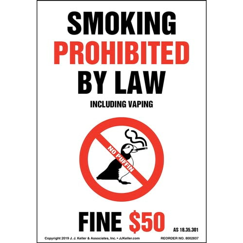 Alaska Smoking Prohibited By Law Including Vaping Label - Portrait (015721)