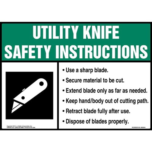 Utility Knife Safety Instructions Sign with Icon - ANSI (015746)