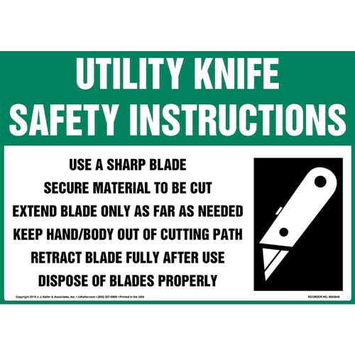 Utility Knife Safety Instructions Sign with Icon - OSHA (015748)