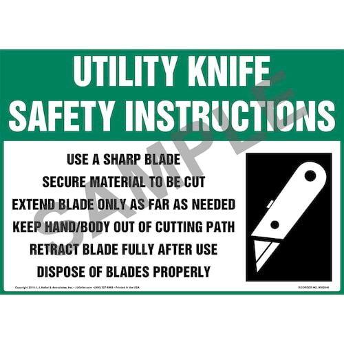 Utility Knife Safety Instructions Sign with Icon - OSHA (015748)