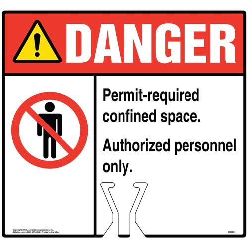 Cone Topper Sign - Danger: Permit-Required Confined Space Authorized Personnel Only Sign with Icon - ANSI (015814)
