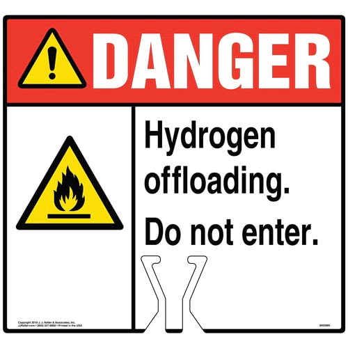 Danger: Hydrogen Offloading Sign with Flammable Material Icon - ANSI (015815)