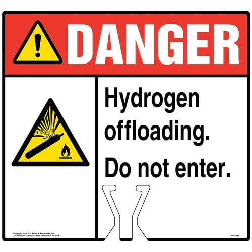 Cone Topper Sign - Danger: Hydrogen Offloading Sign with Pressurized Cylinder Icon - ANSI (015816)