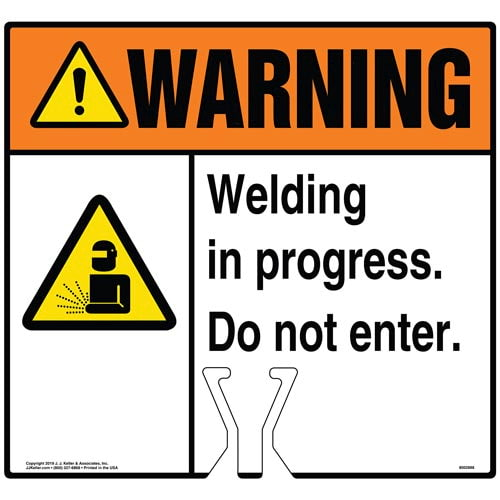 Warning: Welding In Progress Do Not Enter Sign with Icon - ANSI (015818)