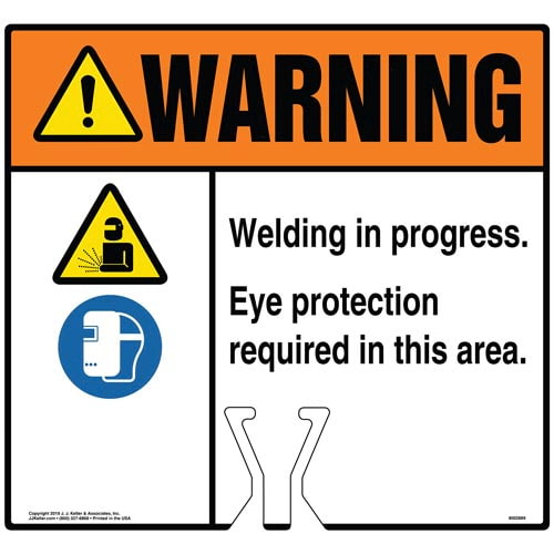 Warning: Welding In Progress Eye Protection Required Sign with Icons - ANSI (015819)