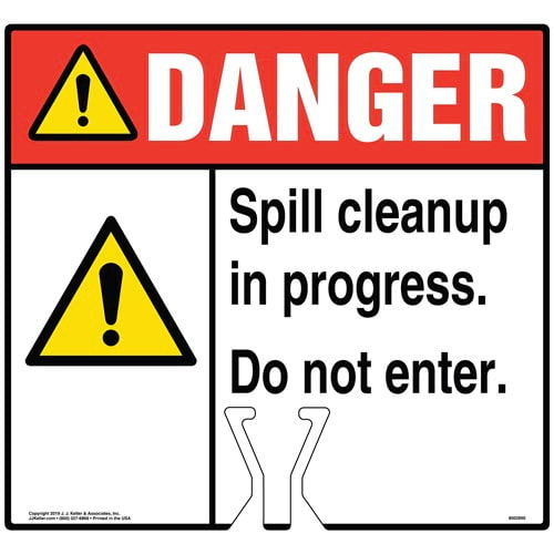 Cone Topper Sign - Danger: Spill Cleanup In Progress Sign with General Warning Icon - ANSI (015820)