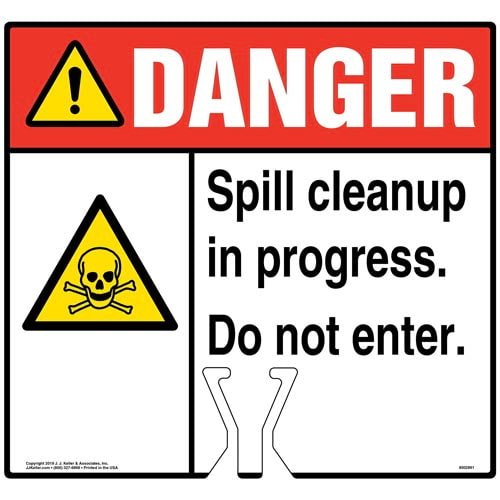 Cone Topper Sign - Danger: Spill Cleanup In Progress Sign with Toxic Material Icon - ANSI (015821)