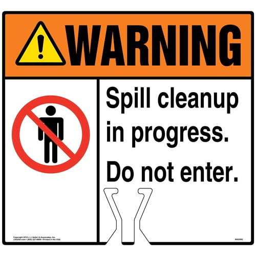 Warning: Spill Cleanup In Progress Sign with Icon - ANSI (015822)