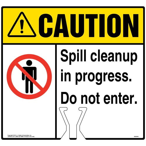 Caution: Spill Cleanup In Progress Sign with General Warning Icon - ANSI (015823)