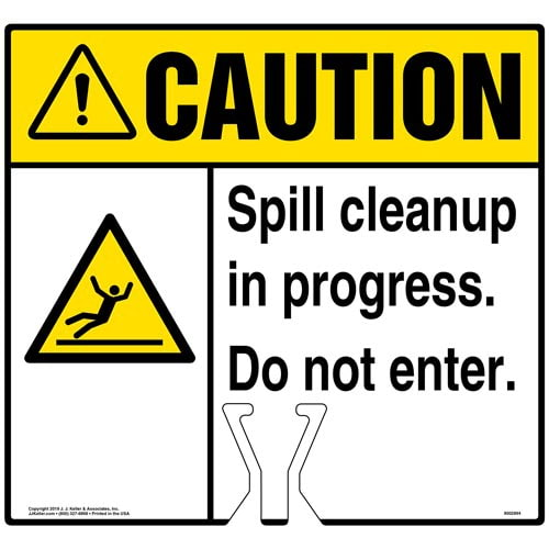 Cone Topper Sign - Caution: Spill Cleanup In Progress Sign with Slippery Surface Icon - ANSI (015824)