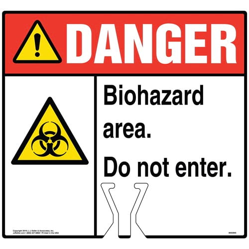 Cone Topper Sign - Danger: Biohazard Area Do Not Enter Sign with Icon - ANSI (015825)