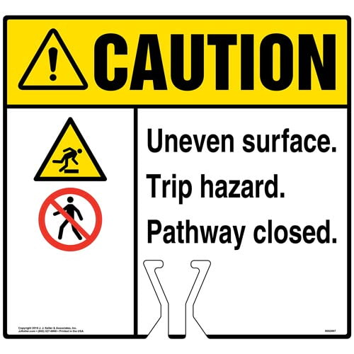 Caution: Uneven Surface Trip Hazard Pathway Closed Sign with Icons - ANSI (015827)