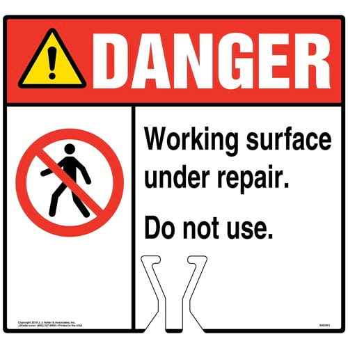 Danger: Working Surface Under Repair Sign with Icon - ANSI (015831)