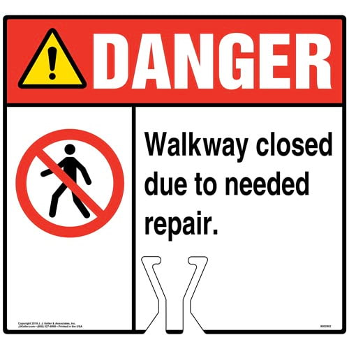 Cone Topper Sign - Danger: Walkway Closed Due To Needed Repair Sign with Icon - ANSI (015832)