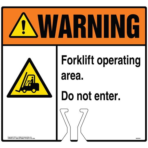 Warning: Forklift Operating Area Do Not Enter Sign with Icon - ANSI (015833)