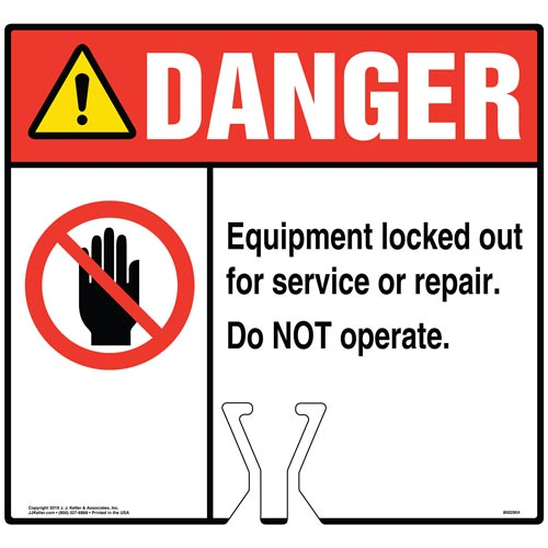 Danger: Equipment Locked Out For Service Or Repair Sign with Icon - ANSI (015834)