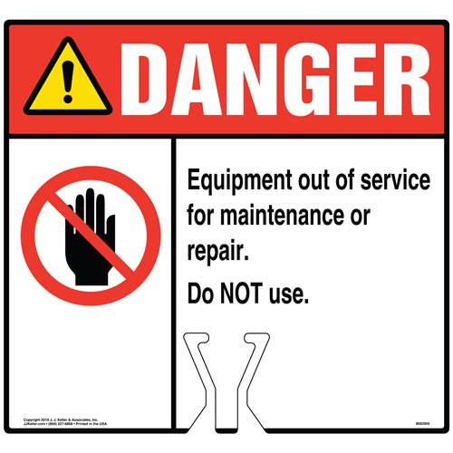 Danger: Equipment Out Of Service For Maintenance Or Repair Sign with Icon - ANSI (015835)