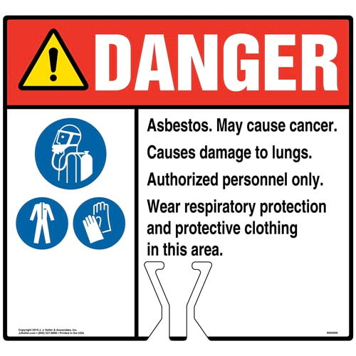 Cone Topper Sign - Danger: Asbestos Sign with Breathing Appliance, PPE and Gloves Icons - ANSI (015836)