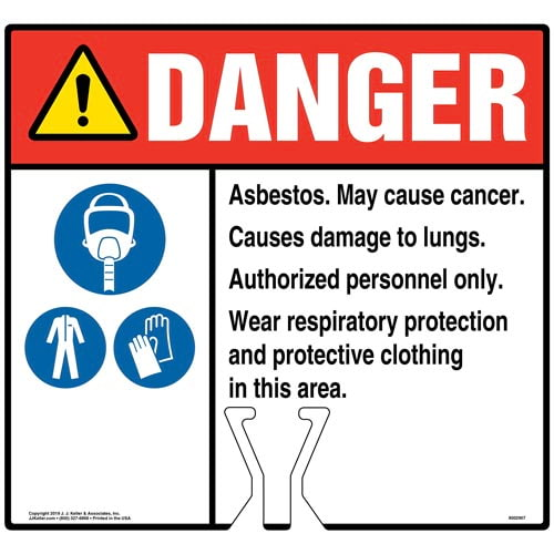Cone Topper Sign - Danger: Asbestos Sign with Air Respirator, PPE and Gloves Icons - ANSI (015837)