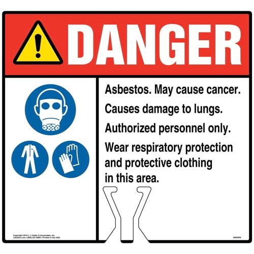 Cone Topper Sign - Danger: Asbestos Sign with Respiratory Protection, PPE and Gloves Icons - ANSI (015838)