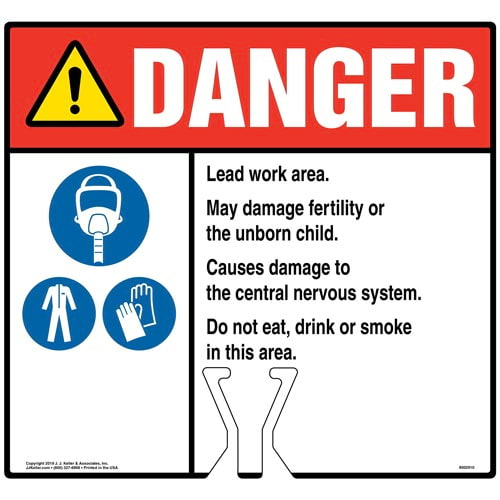 Danger: Lead Work Area Sign with Air Respirator, PPE and Gloves Icons - ANSI (015840)