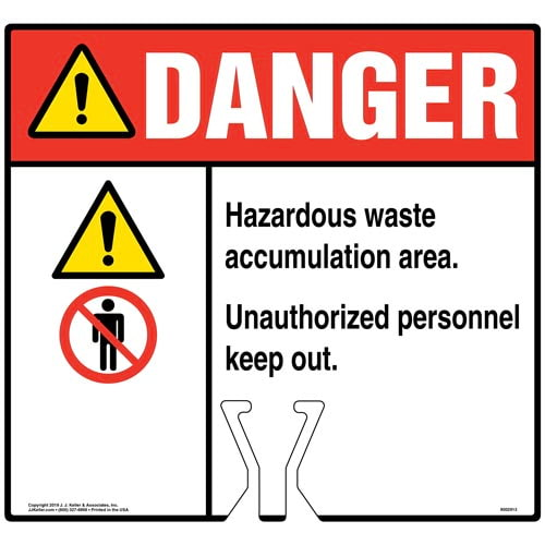 Cone Topper Sign - Danger: Hazardous Waste Accumulation Area Sign with Icons - ANSI (015843)