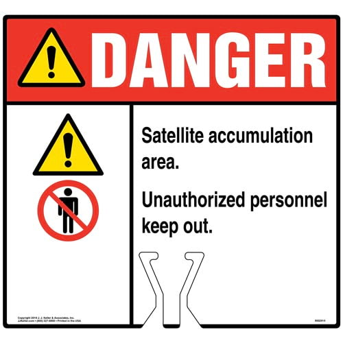 Cone Topper Sign - Danger: Satellite Accumulation Area Sign with Icons - ANSI (015844)