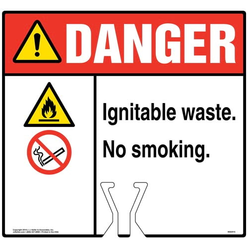 Cone Topper Sign - Danger: Ignitable Waste No Smoking Sign with Icons - ANSI (015845)