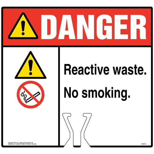 Danger: Reactive Waste No Smoking Sign with Icons - ANSI (015846)