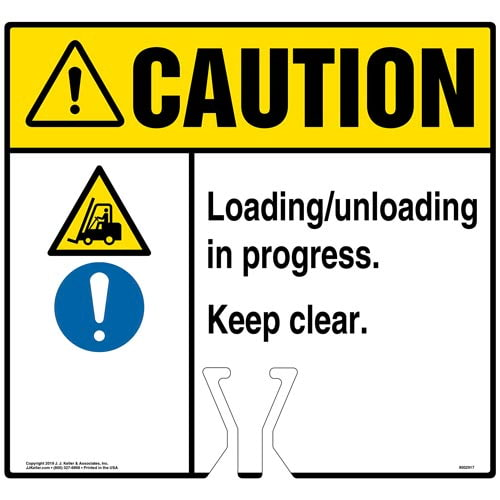Caution: Loading / Unloading In Progress Keep Clear Sign with Icons - ANSI (015847)