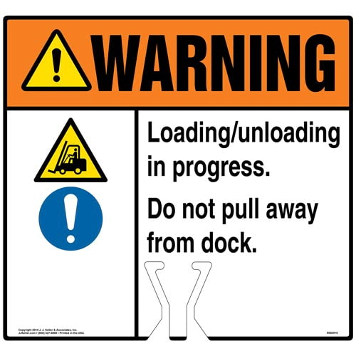 Warning: Loading / Unloading In Progress Do Not Pull Away From Dock Sign with Icons - ANSI (015848)