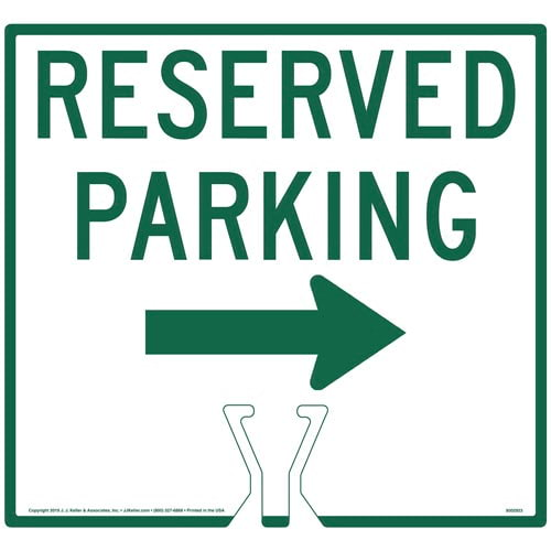 Cone Topper Sign - Green Reserved Parking Single Arrow Sign (015853)