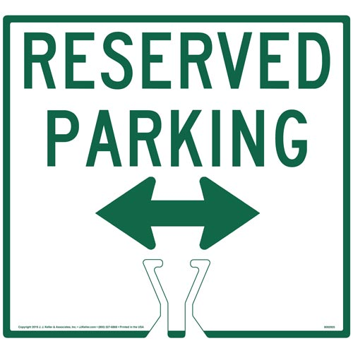 Cone Topper Sign - Green Reserved Parking Double Arrow Sign (015855)