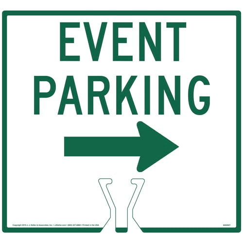 Cone Topper Sign - Green Event Parking Single Arrow Sign (015857)