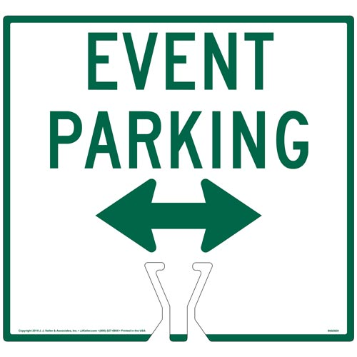 Cone Topper Sign - Green Event Parking Double Arrow Sign (015859)