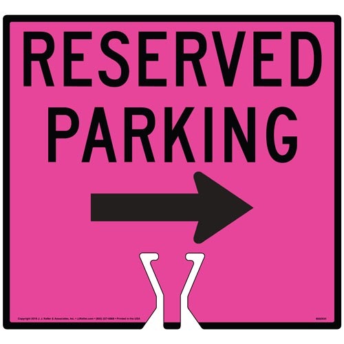 Black Reserved Parking Single Arrow Sign (015864)