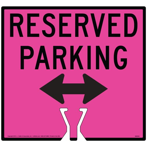 Black Reserved Parking Double Arrow Sign (015866)