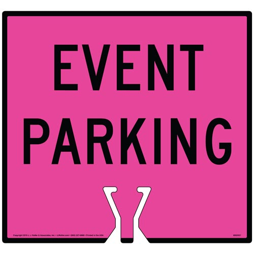 Cone Topper Sign - Black Event Parking Sign (015867)