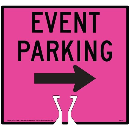 Black Event Parking Single Arrow Sign (015868)