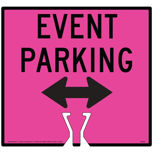 Cone Topper Sign - Black Event Parking Double Arrow Sign (015870)