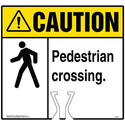 Cone Topper Sign - Caution: Pedestrian Crossing Sign with Icon - ANSI (015871)