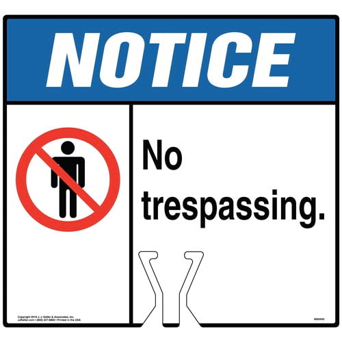 Notice: No Trespassing Sign with Icon - ANSI (015872)