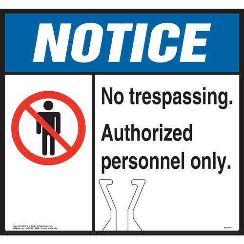 Cone Topper Sign - Notice: No Trespassing Authorized Personnel Only Sign with Icon - ANSI (015873)