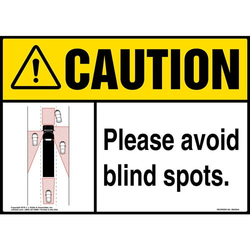Caution: Please Avoid Blind Spots Sign with Icon - ANSI (015874)