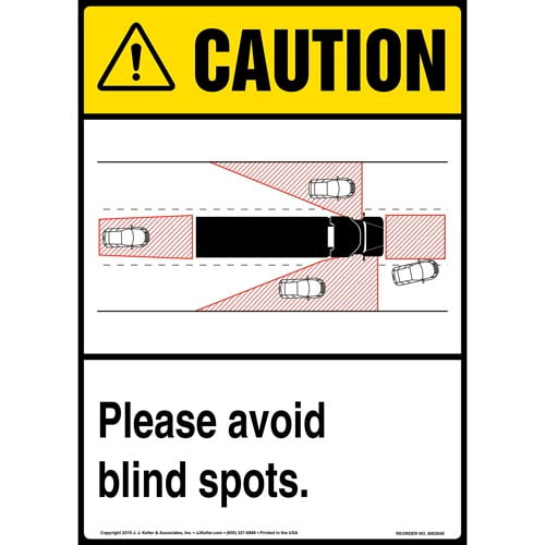 Caution: Please Avoid Blind Spots Sign with Icon - ANSI, Long Format (015875)