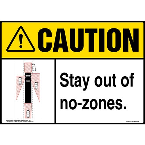 Caution: Stay Out Of No-Zones Sign with Icon - ANSI (015878)