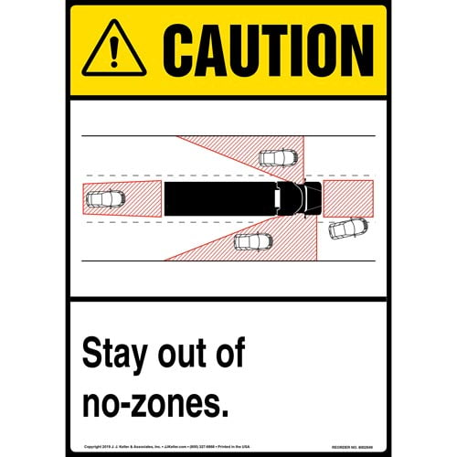Caution: Stay Out Of No-Zones Sign with Icon - ANSI, Long Format (015879)