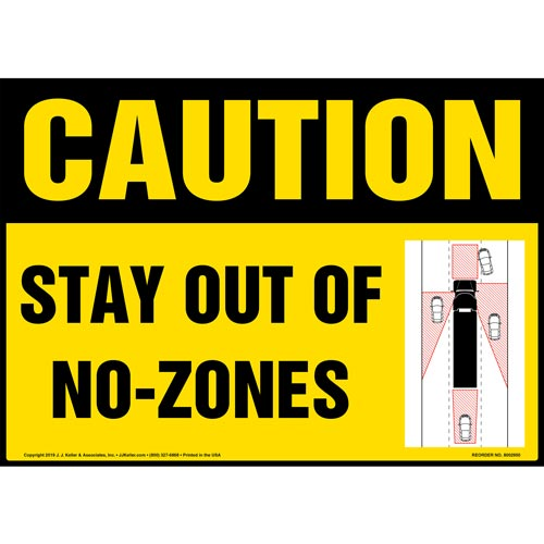 Caution: Stay Out Of No-Zones Sign with Icon - OSHA (015880)